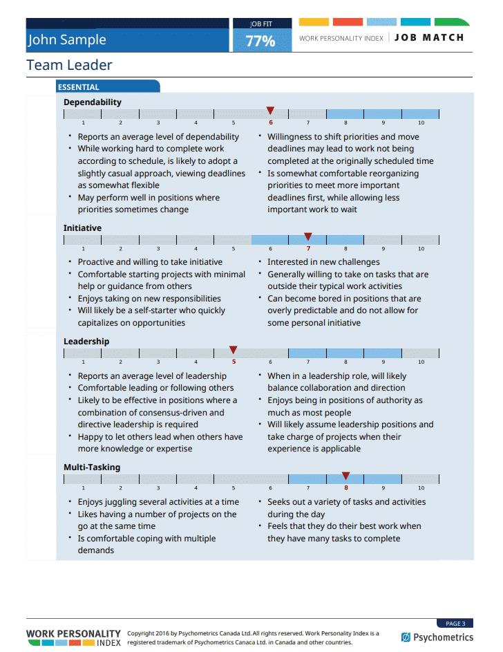 pre-employment assessment detailed descriptions