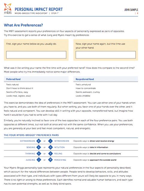 mbti personal impact report