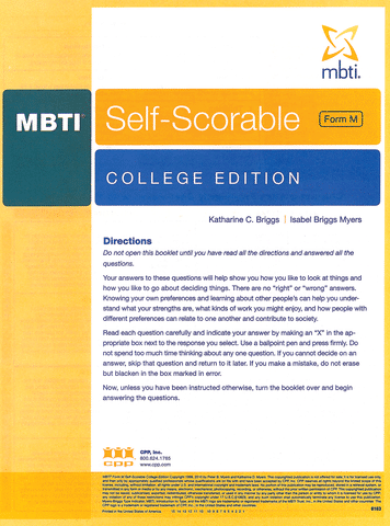 mbti self scorable college edition