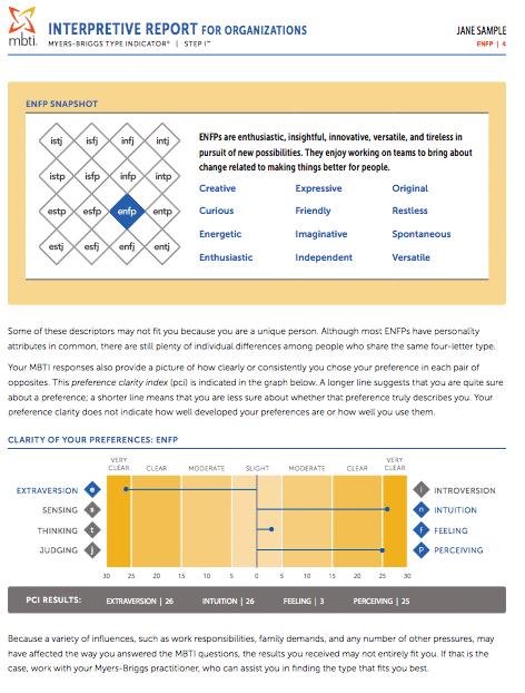 mbti interpretive report for organizations