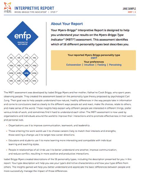 MBTI® Interpretive Report | Psychometrics Canada
