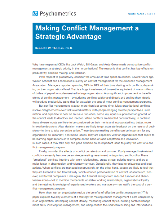 Conflict Management Whitepaper