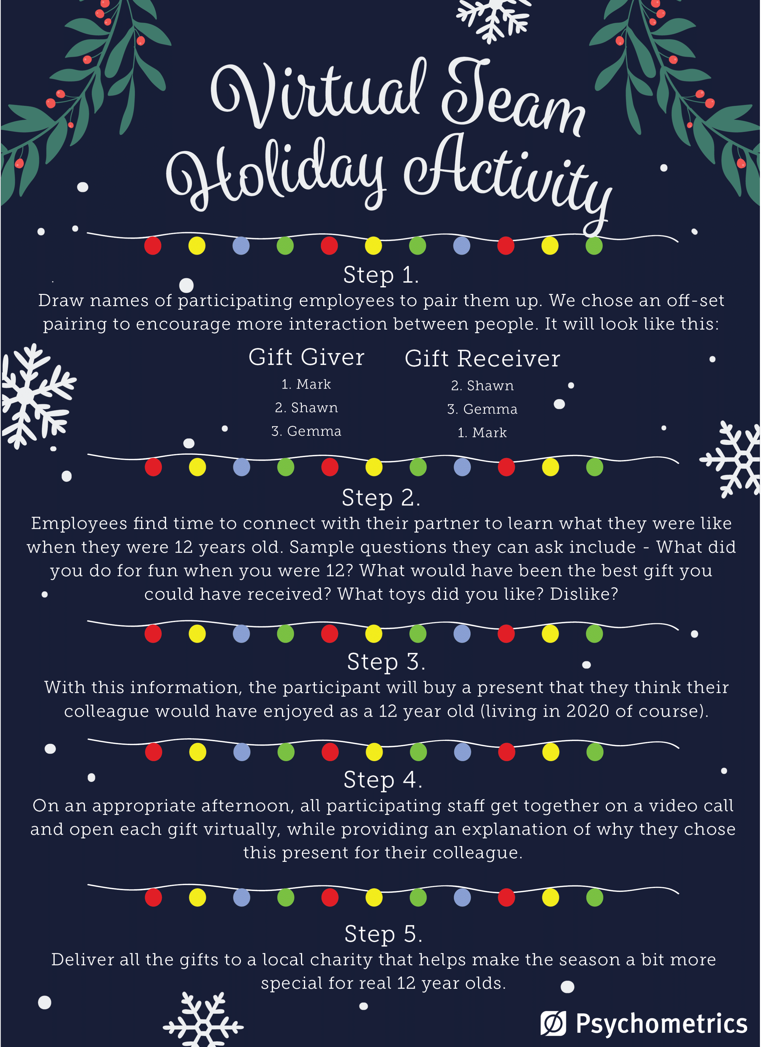 A virtual team holiday activity to engage staff and give back to community