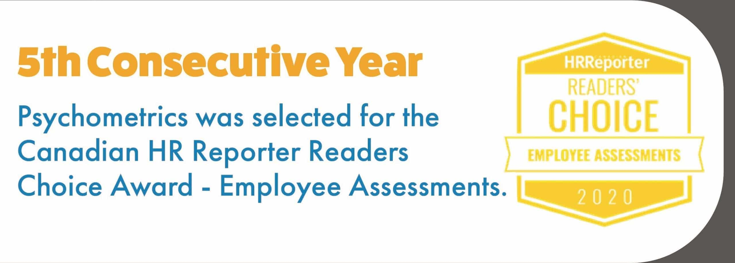 %th Year Selected for HR Canadian Reporter Readers Choice Award