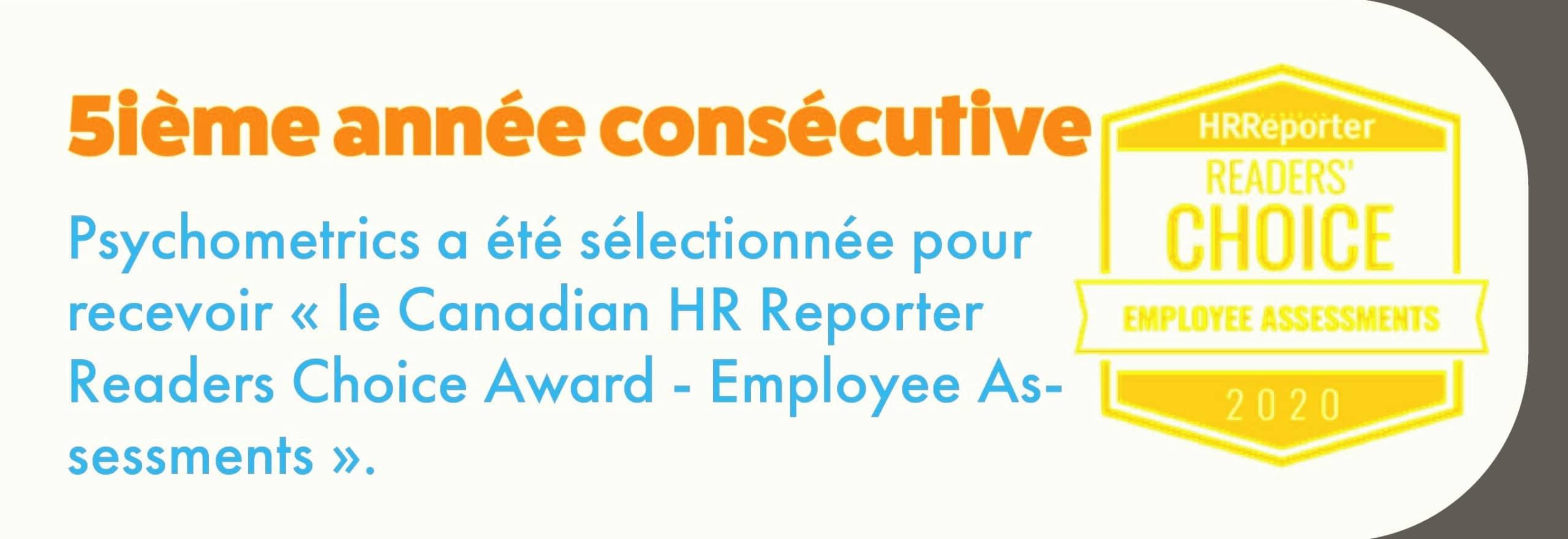 Psychometrics sélectionnée Canadian HR Reporter Readers Choice Award