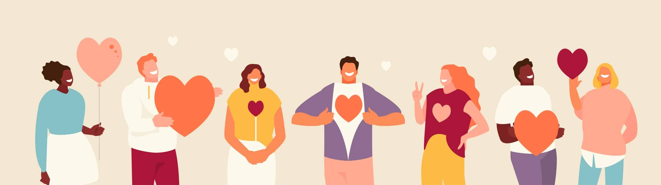 Illustrated people holding heart shape in hand