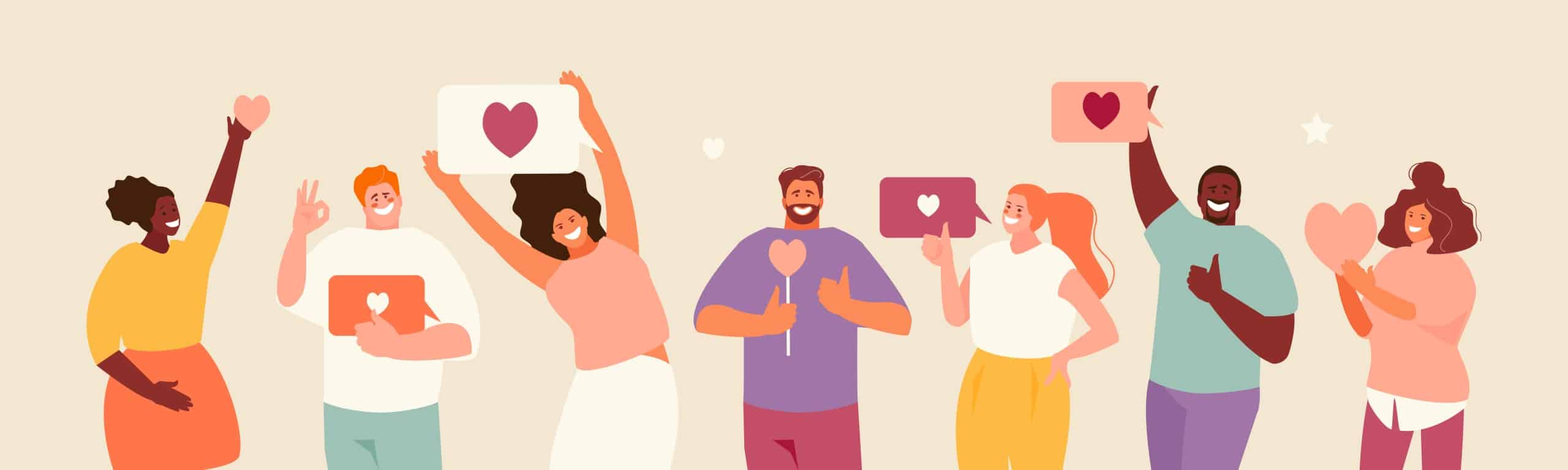 Illustration of happy people smiling and giving thumb's up