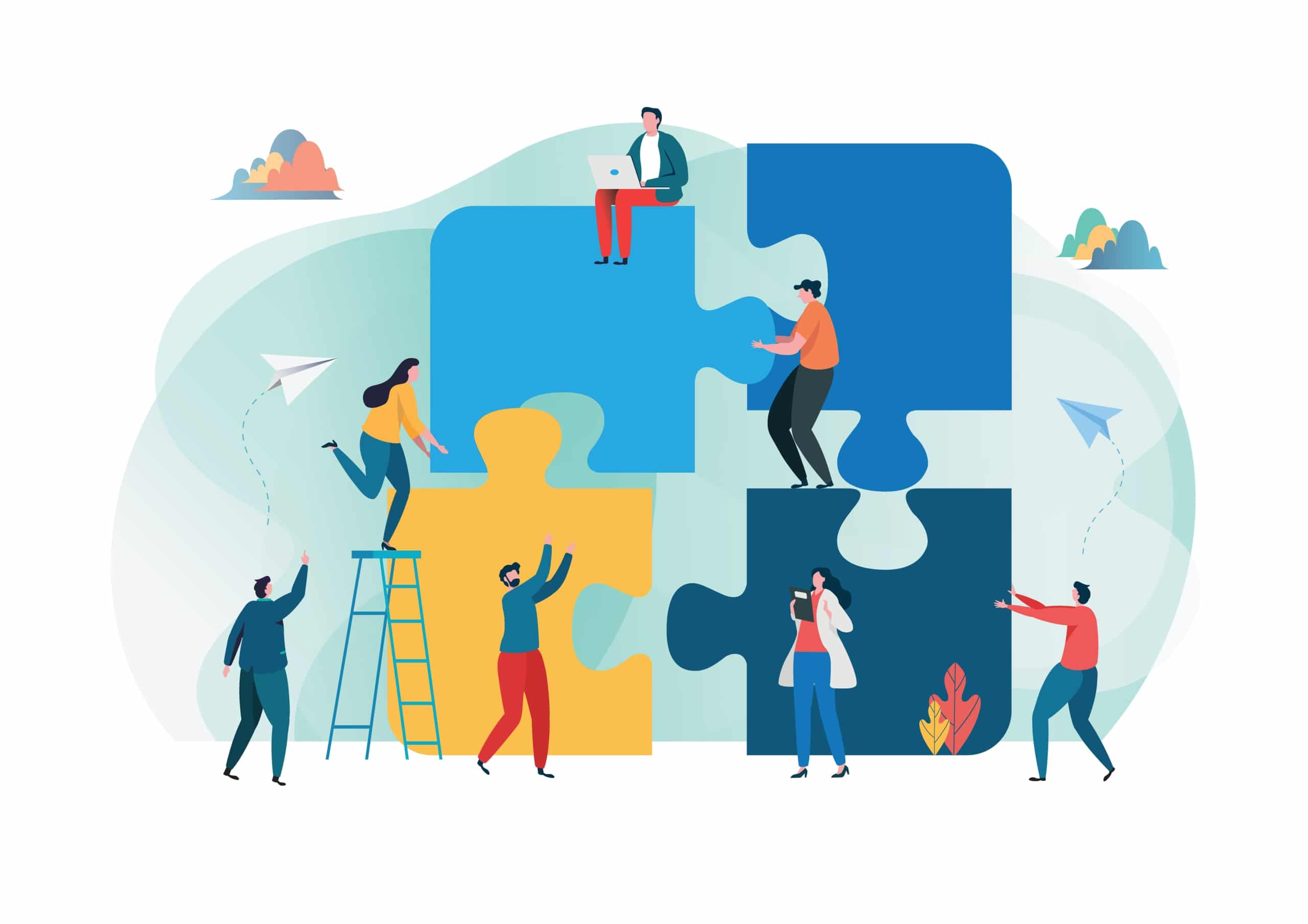 Illustration of men and women working together to make a puzzle demonstrating teamwork