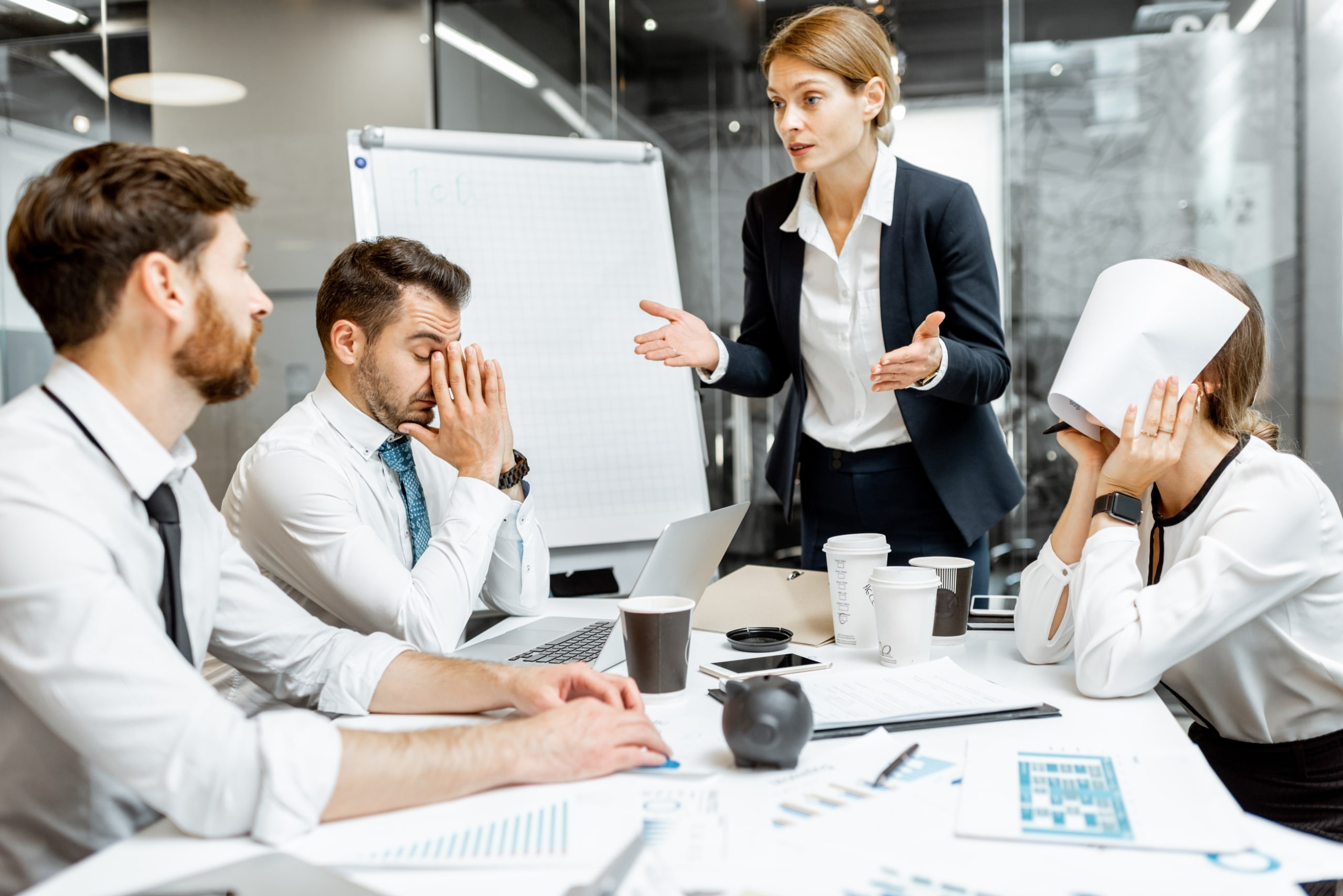 bad leader working with frustrated employees