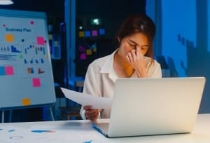 Woman Working Remotely Burnout